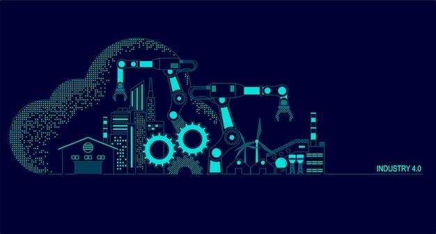 Illustration De L'industrie 4.0 Vecteur Premium