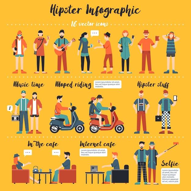 Illustration d'infographie hipster Vecteur gratuit