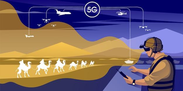 Illustration De L'infrastructure De Communication Militaire Vecteur Premium