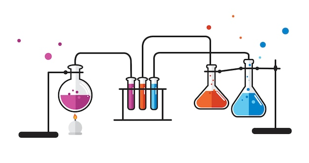 Illustration des instruments de laboratoire de chimie Vecteur gratuit