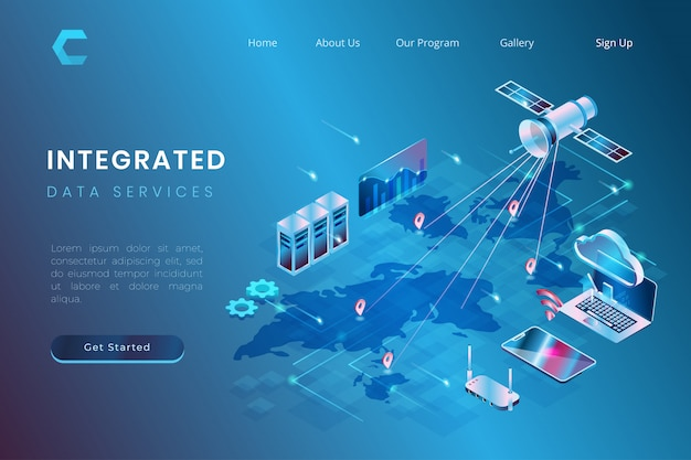 Illustration De L'intégration Des Services De Données à L'aide De Systèmes De Stockage Par Satellite Et Cloud Dans Un Style 3d Isométrique Vecteur Premium