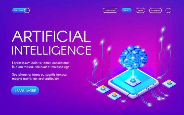 Illustration de l'intelligence artificielle du cerveau humain avec un jeu de puces à neurones numériques. Vecteur gratuit