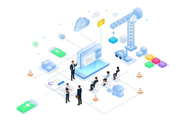 Illustration intelligente isométrique future science et technologie bureau intelligent Vecteur Premium