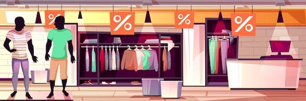 Illustration d'intérieur de boutique de mode masculine de vente de vêtements pour hommes. Vecteur gratuit