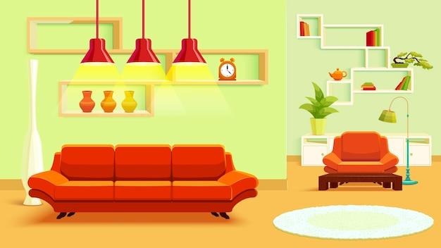 Illustration De L'intérieur Du Salon Vecteur gratuit