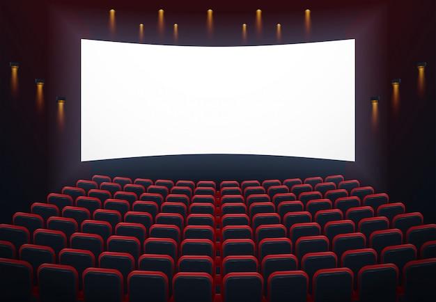 Illustration de l'intérieur d'une salle de cinéma avec un fond sur l'écran Vecteur Premium