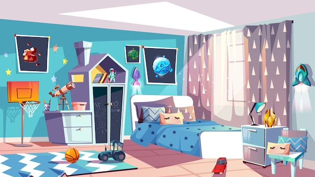 Illustration intérieure de chambre garçon garçon de mobilier de chambre à coucher moderne dans un style bleu scandinave. Vecteur gratuit