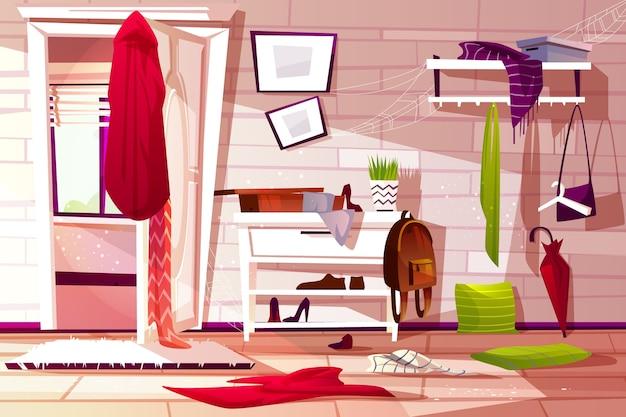 Illustration intérieure désordonnée de couloir salle de couloir d'appartement rétro Vecteur gratuit