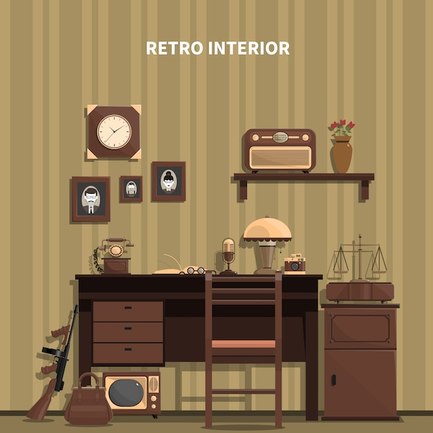 Illustration Intérieure Rétro Vecteur gratuit