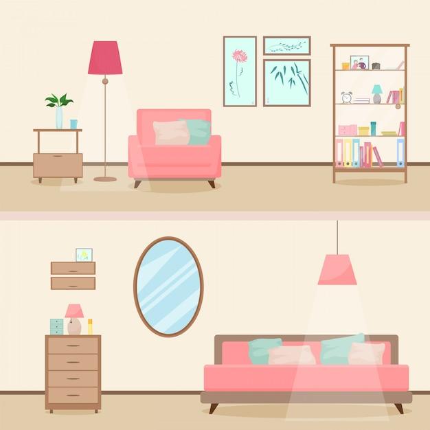 Illustration intérieure de salon moderne coloré style plat ...