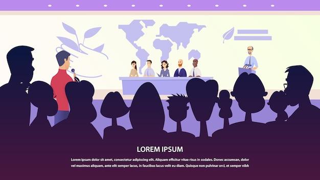 Illustration Interview Groupe De Professeur Journaliste Vecteur Premium