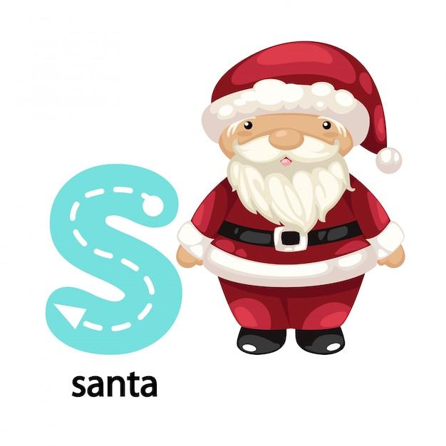 Illustration isolée lettre alphabet s-santa Vecteur Premium