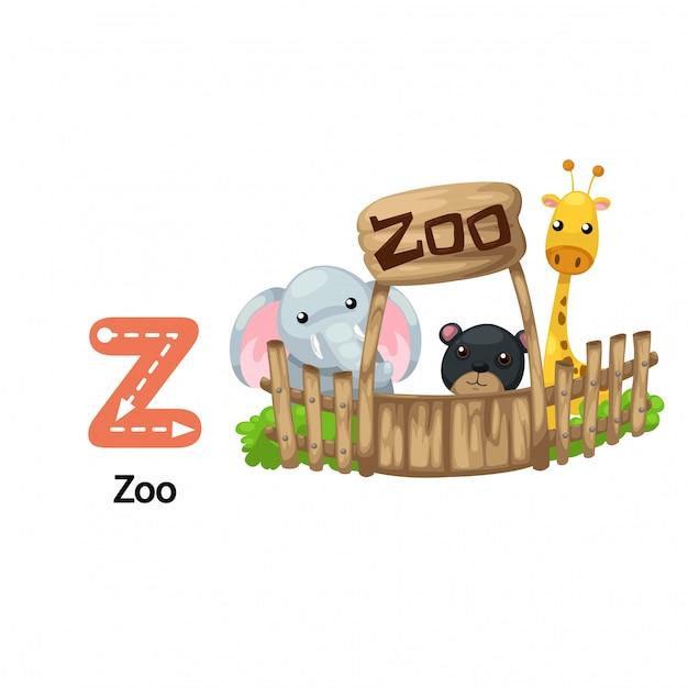 Illustration isolée lettre alphabet z-zoo Vecteur Premium