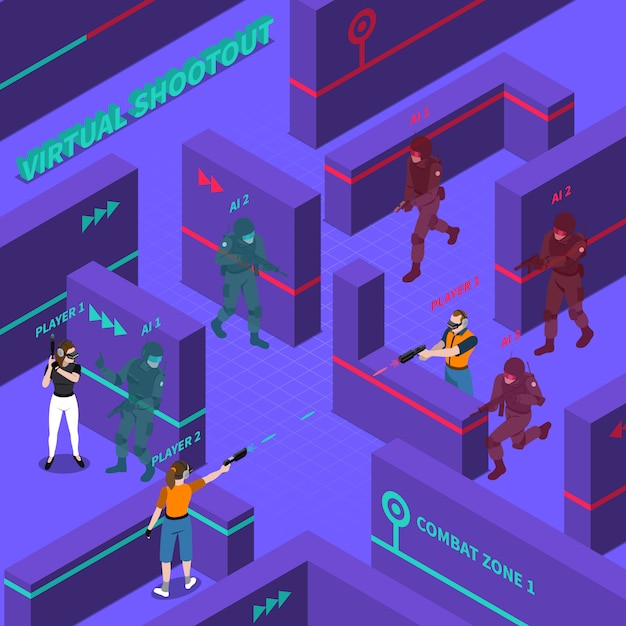 Illustration isométrique de batailles d'armes à feu virtuelles Vecteur gratuit