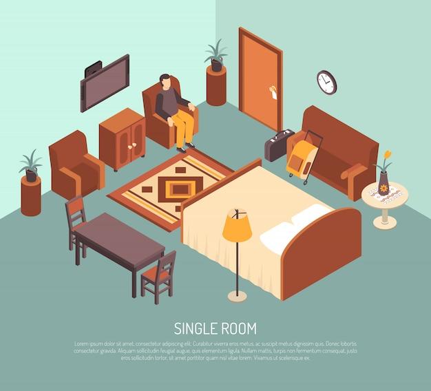 Illustration d'isométrique de chambre simple d'hôtel Vecteur gratuit