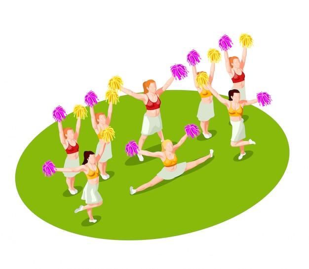 Illustration isométrique cheerleading Vecteur gratuit