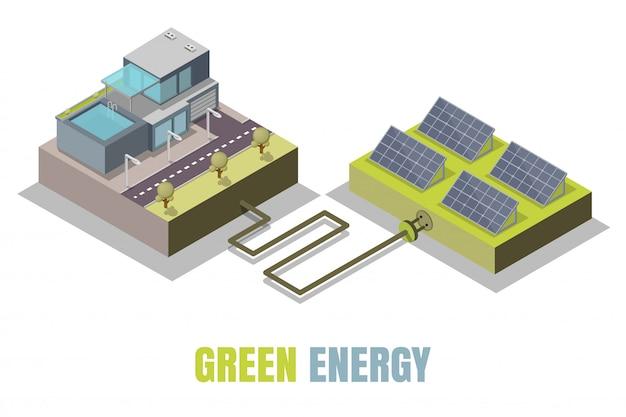 Illustration Isométrique De Concept D'énergie Verte Vecteur Premium