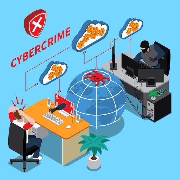 Illustration Isométrique De Cybercriminalité Vecteur gratuit