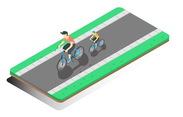 Illustration isométrique cyclisme Vecteur Premium