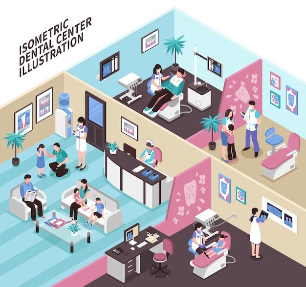 Illustration Isométrique Du Centre Dentaire Vecteur gratuit