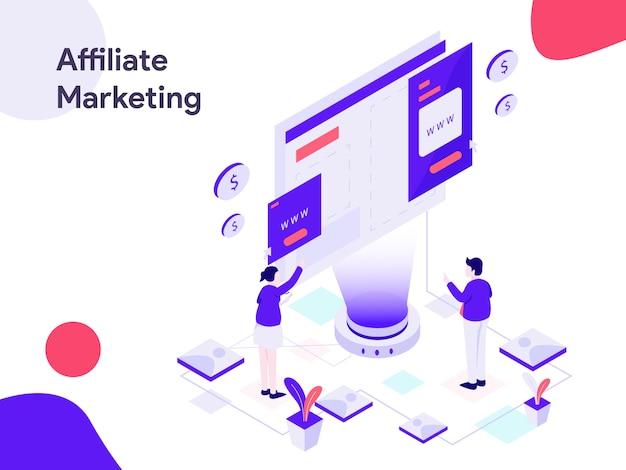 Illustration isométrique du marketing affilié Vecteur Premium