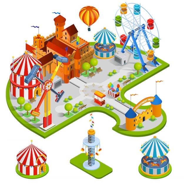 Illustration isométrique du parc d'attractions Vecteur gratuit