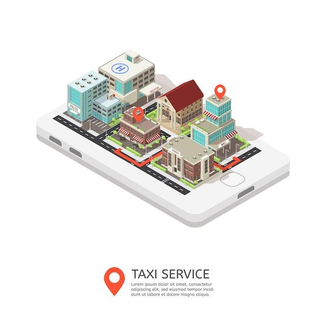 Illustration Isométrique Du Service De Taxi Mobile Vecteur gratuit