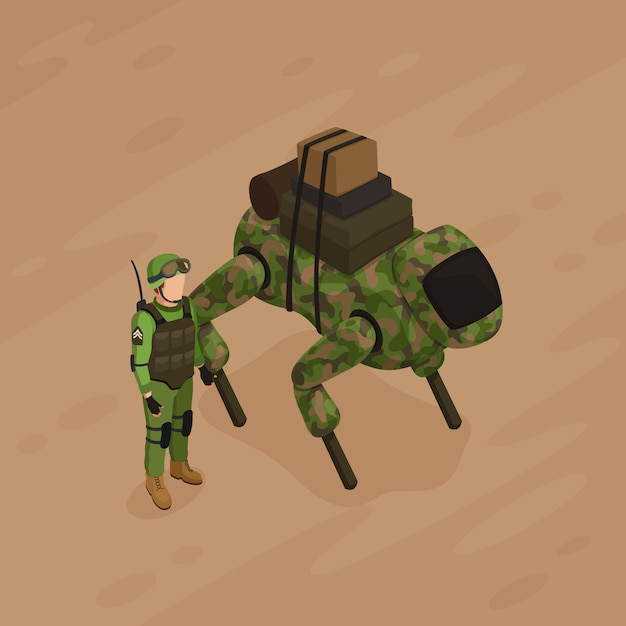 Illustration isométrique du soldat robot Vecteur gratuit