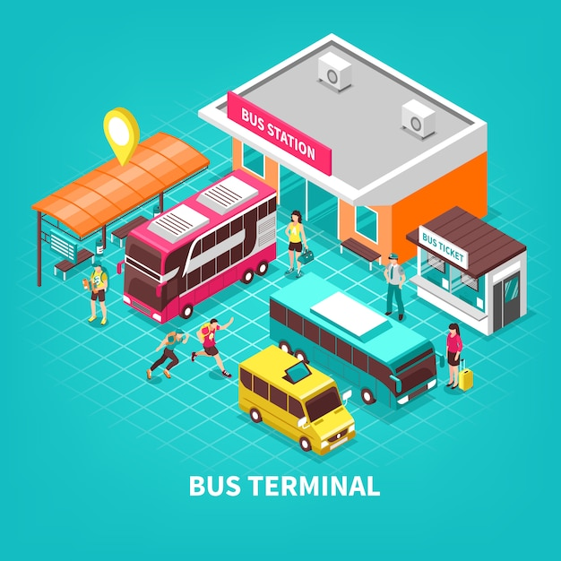 Illustration isométrique du terminal de bus Vecteur gratuit