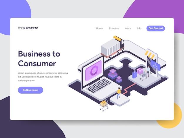 Illustration isométrique entre entreprise et consommateur pour les pages web Vecteur Premium