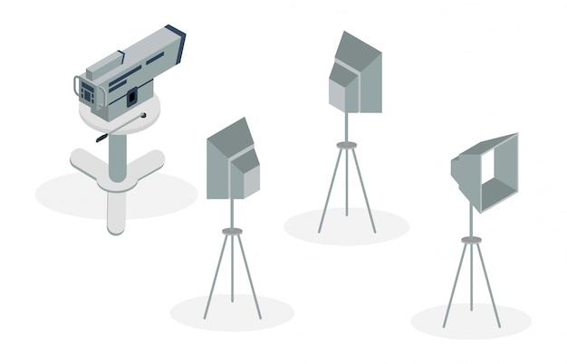 Illustration isométrique des équipements de production de film Vecteur Premium