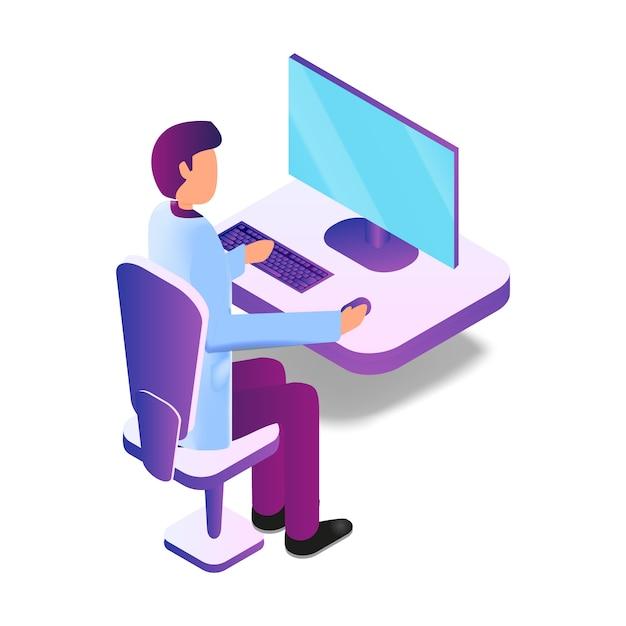 Illustration isométrique homme médecin utilisant un ordinateur Vecteur Premium