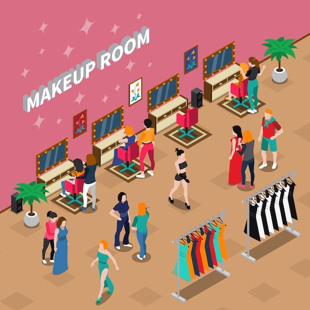 Illustration isométrique de l'industrie de la mode de la salle de maquillage Vecteur gratuit