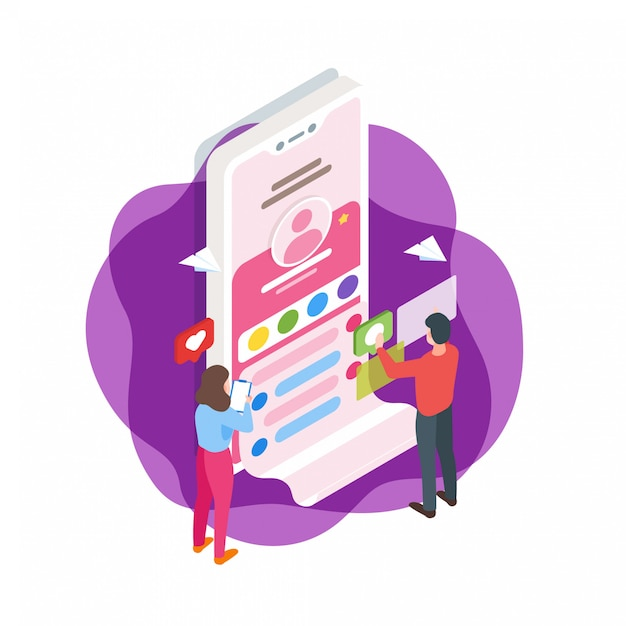 Illustration isométrique d'interface de médias sociaux Vecteur Premium