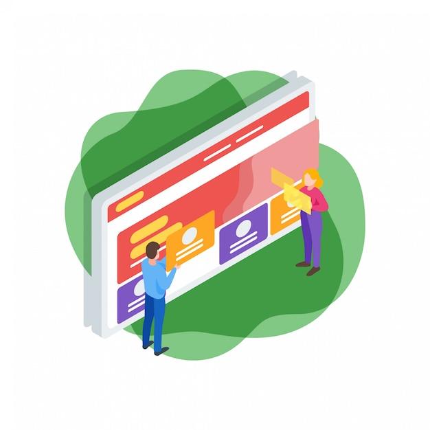 Illustration isométrique d'interface de site web Vecteur Premium