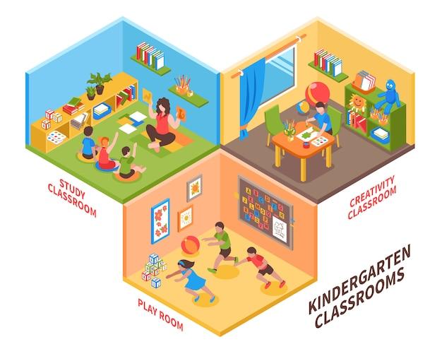 Illustration isométrique intérieure de jardin d'enfants Vecteur gratuit