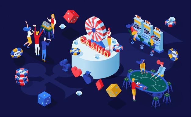 Illustration isométrique des jeux de casino Vecteur Premium