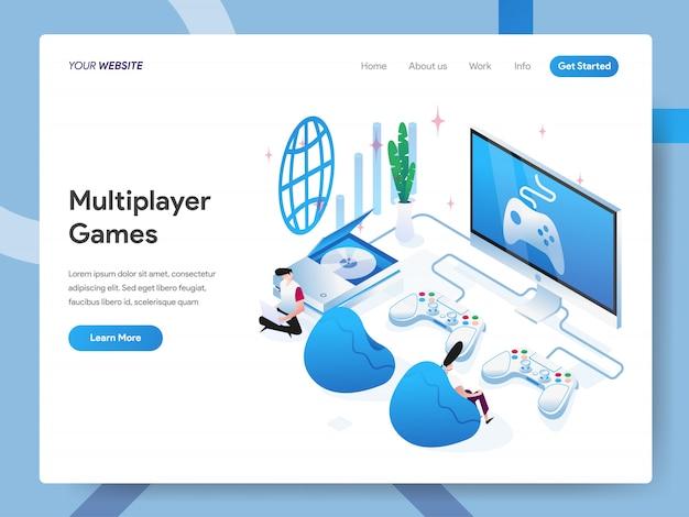 Illustration Isométrique Des Jeux Multijoueurs Pour La Page Du Site Web Vecteur Premium