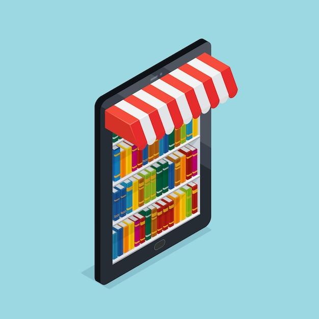 Illustration isométrique de librairie en ligne Vecteur gratuit
