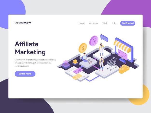 Illustration isométrique de marketing d'affiliation pour les pages web Vecteur Premium