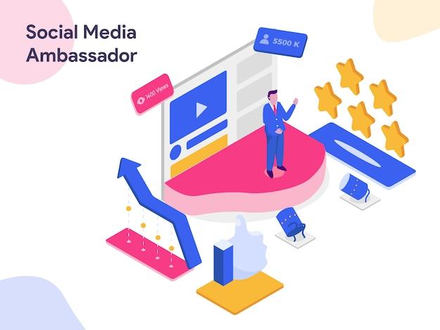 Illustration isométrique des médias sociaux ambassador Vecteur Premium