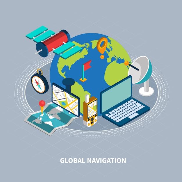 Illustration Isométrique De Navigation Globale Vecteur gratuit