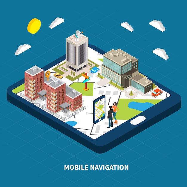 Illustration Isométrique De Navigation Mobile Vecteur gratuit
