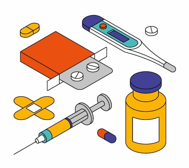Illustration Isométrique D'objets Médicaux. Vecteur Premium