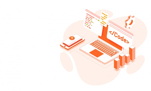 Illustration Isométrique D'un Ordinateur Portable Vecteur Premium