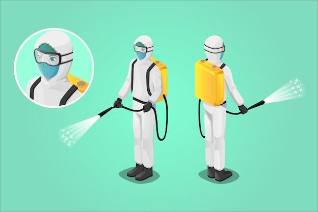 Illustration Isométrique, Personnel Médical Pulvérisant Un Désinfectant, Combattant Le Virus Vecteur Premium