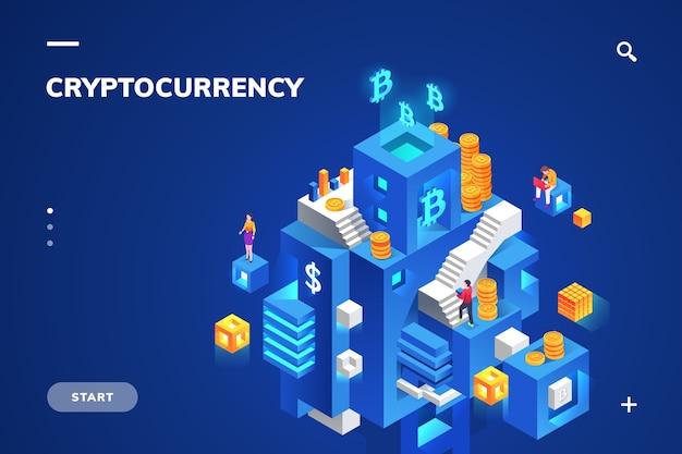 Illustration Isométrique Pour La Technologie De Crypto-monnaie Et De Blockchain, De Crypto-monnaie Et De Bloc Financier, De Monnaie Numérique Et De Pile De Pièces. Vecteur Premium