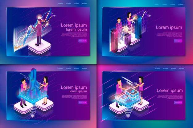 Illustration isométrique la réalité virtuelle dans les affaires Vecteur Premium