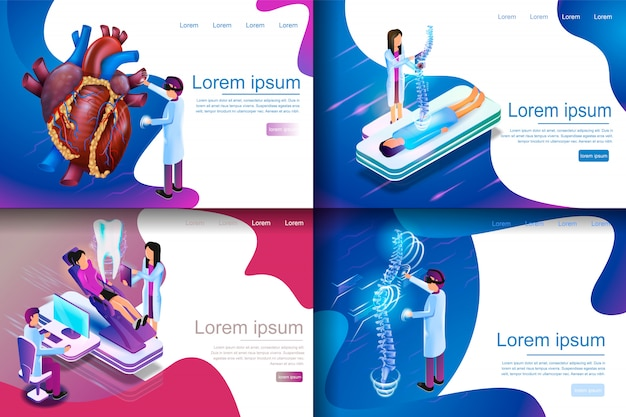 Illustration isométrique recherche médicale virtuelle Vecteur Premium