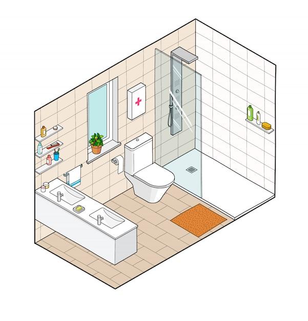 Illustration isométrique de la salle de bain. vue intérieure dessinée à la main. Vecteur Premium